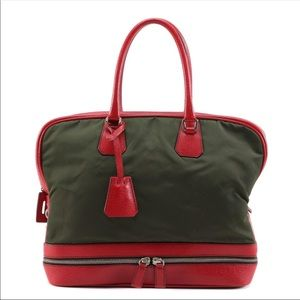 Auth Prada red leather and green nylon hand bag